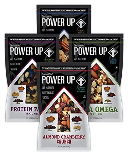 Power Up Trail Mix Variety Pack (8 individual snack bags) Protein Packed, Antioxidant Mix, Almond Cranberry Crunch, Mega Omega by Gourmet Nut