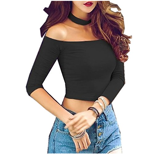 Women's Basic Black Cropped Top - 8