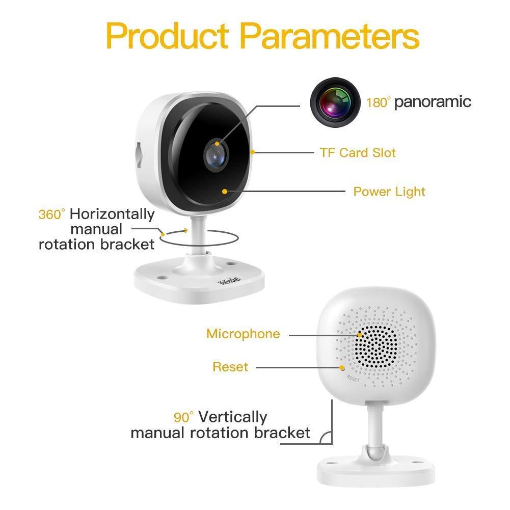 Cámara IP 1080P WeiSocket - Cámara de Vigilancia, Cámara IP inalámbrica, Cámara panorámica de seguridad de 180 grados Full HD con detección de movimiento, ...