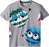 Fendi Kids Baby Boy's Short Sleeve Logo Fur Monster Graphic T-Shirt (Toddler) Grey 3 Years