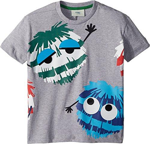 Fendi Kids Baby Boy's Short Sleeve Logo Fur Monster Graphic T-Shirt (Toddler) Grey 3 - Clothes Kids Fendi