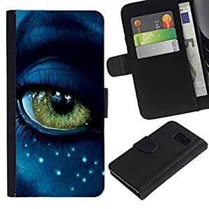 iKiki Tech / Cartera Funda Carcasa - Eye Alien Close Up Blue Green Stars Face - Samsung Galaxy S6 SM-G920