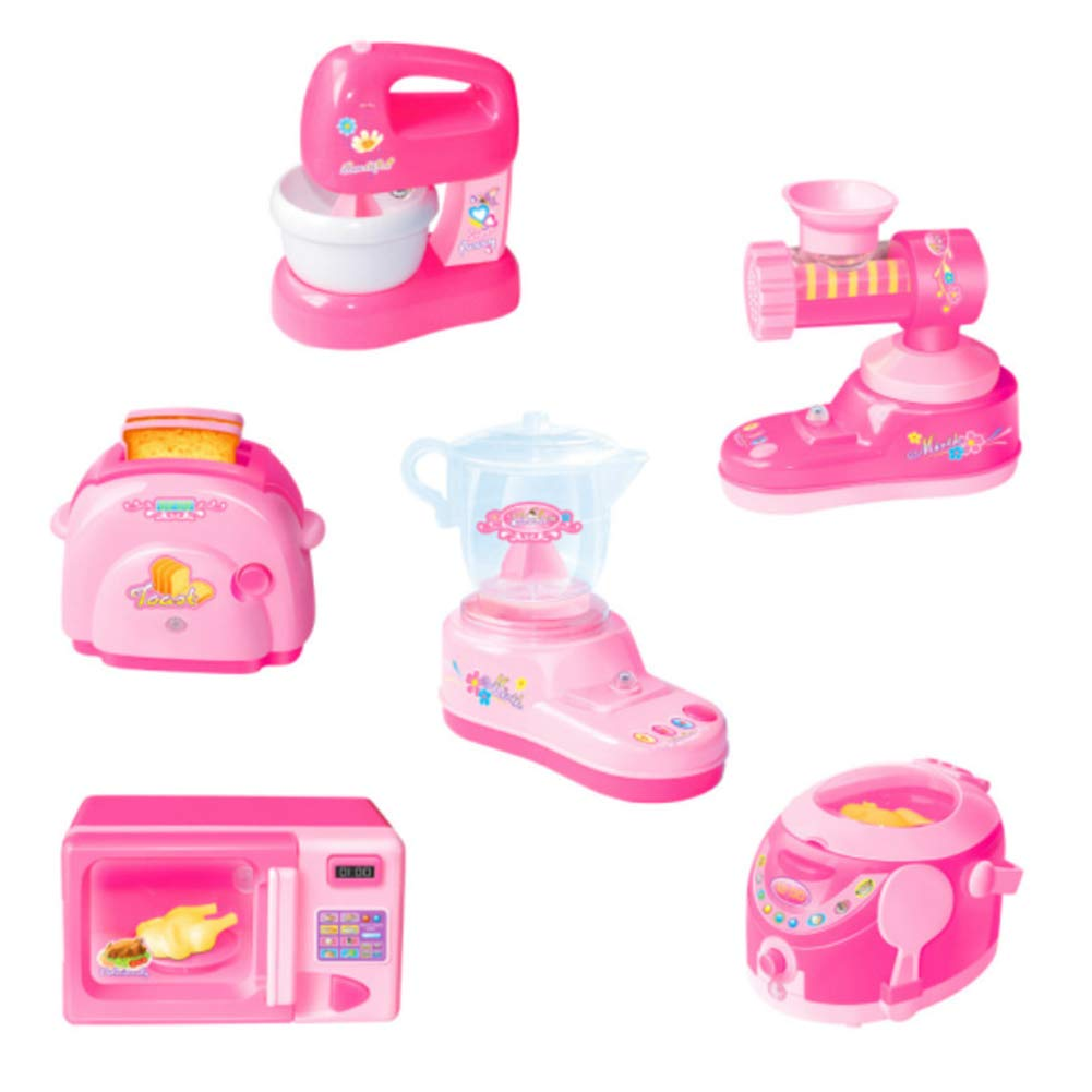 BeesClover Children Simulation Mini Home Appliance Pretend Game Kitchen Toy for Kids Gifts Pink 6 pcs Type A