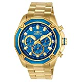 Invicta Men's Aviator Quartz Watch with Stainless-Steel Strap, Gold, 10 (Model: 22805)