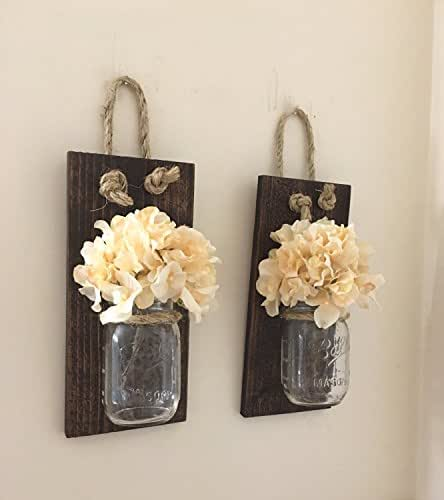 Mason Jar Wall Decor How To : Mason jar wall sconce set of two hand