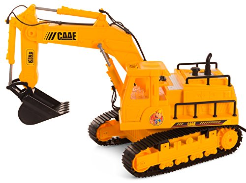 ToyThrill 8 Channel Construction Building Tractor with Lights & Sound- Real Digging Action: Best Electric Excavator Truck Vehicle Christmas Gift Toy for Boys Ages 3+ Yrs