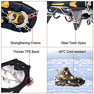 Traction Cleats 19 Teeth Crampons Snow Grips Ice Creepers Stainless Steel Spikes for Footwear [Potable Bag,2 Straps] Anti Slip Shoe Boot Chain Cleat Crampon Aid for Men Women Walking Jogging Hiking