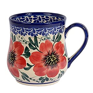 Traditional Polish Pottery, Handcrafted Ceramic Drop-shaped Mug (350 ml /12.3 fl oz), Boleslawiec Style Pattern, Q.102.MALLOW