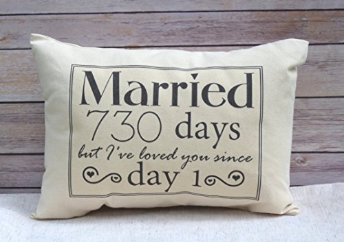 2nd Anniversary Cotton Gift, Cotton Anniversary Gift for her, Married for 730 days but, I've loved you since day 1 Cotton Duck Fabric (Linen Anniversary Gifts For Her)