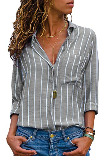 CILKOO Womens Casual Summer Spring V Neck Striped Button Down Chiffon Tunic Blouses Work Long Sleeve Tops Shirts Grey White US8-10 Medium