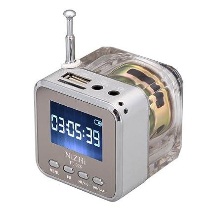 Andoer mini digital portátil altavoz de la música - MP3/4 Player Micro SD/TF USB disco Radio FM con antena telescópica y salida para auriculares y ...