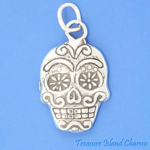 Sugar Skull Mexican Calavera Day of The Dead Holiday .925 Sterling Silver Charm Ideal Gifts, Pendant, Charms, DIY Crafting, Gift Set from Heart by Wholesale Charms