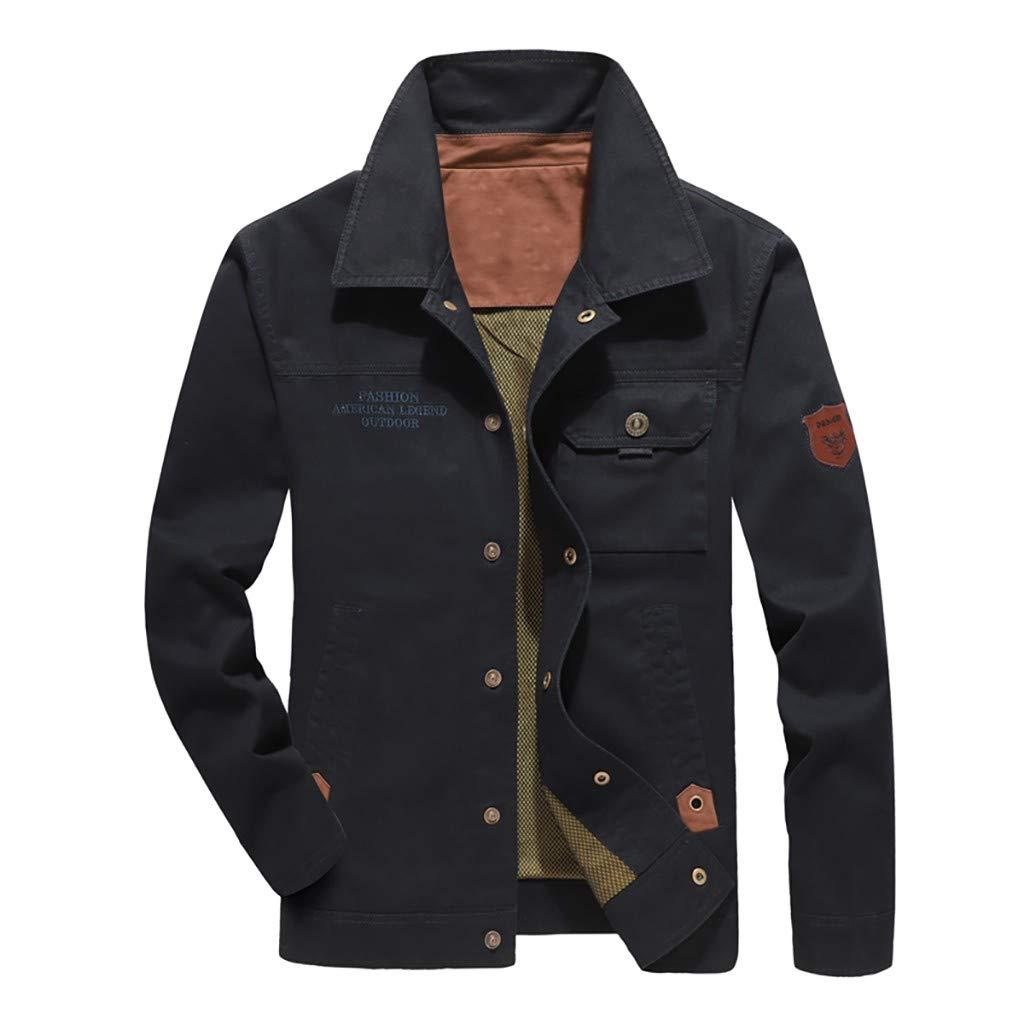 Fitfulvan Men's Jacket British Style Casual Outwear Pure Color Zipper Breathable Cardigan Coat Dark Blue