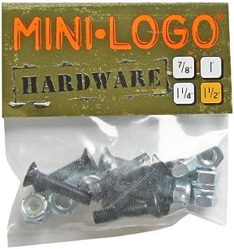 "New Mini Logo 1/"" Inch Skateboard Longboard Hardware Set of 8 Bolts//Nuts"