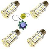 HQRP 4pcs BA15s 18 LEDs Cool White Bulb 6000-7000K 3W 250 Lumen for #1141 #1156 Coachmen Apex RV Brake / Side Marker Lights Replacement plus HQRP UV Meter