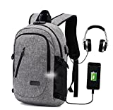 Travel Laptop Backpack,Anti Theft Computer Bag College School Bookbag with USB Charger Port & Headphone Interface Fit 15.6 inch Laptop, Business Water Resistent Daypack for Boys Girls Men Women,Grey