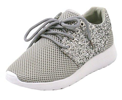 à Paillette Femmes Confort Flexibles S94 Pour Chaussures Légères Confortables à Lacets Marche Plates Brillantes Sport Baskets xvYP1EI