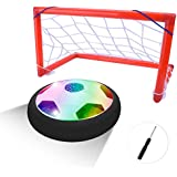 BONAOK Kids Toys Air Power Soccer Gate Set, Kids Disk Hover Ball Equipped With LED Lights, Sports Toys With Foam Bumpers, Indoor or Outdoor Activities
