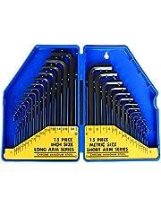 S&R Clés Allen Coffret 30 Clés hexagonales : 0,7 à 10 mm et 0,028 à 3/8 pouces. Coffret Clés allen en mésuration métrique et Impérial. Jeu de clés HX Léger et Pratique.