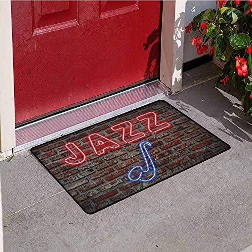 (Gloria Johnson Music Welcome Door mat Image of Alluring Neon All Jazz Sign with Saxophone Instrument on Brick Wall Print Door mat is odorless and Durable W23.6 x L35.4 Inch Red Blue)