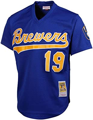 a475cbae066 MLB Mitchell   Ness Robin Yount Milwaukee Brewers 1991 Authentic Throwback  Mesh Batting Practice Jersey - Royal Blue