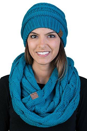 Hat Teal Knit - aHS-6020a-46 Regular Slouchy Beanie Hat Matching Scarf Winter Set Bundle - Teal