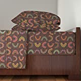 Roostery African 3pc Sheet Set Beads And Baskets by Loopy Canadian Twin Sheet Set made with