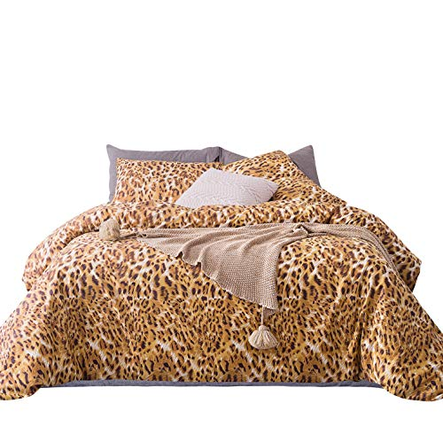 SUSYBAO 3 Piece Duvet Cover Set 100% Cotton Queen Size Gold Leopard Print Bedding with Zipper Ties 1 Animal Pattern Duvet Cover 2 Pillowcases Hotel Quality Soft Comfortable Easy - Covers Duvet Print Leopard