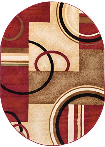 Geometric Area Modern Rug Contemporary (Well Woven Deco Rings Red Geometric Modern Casual Area Rug 5x7 (5'3