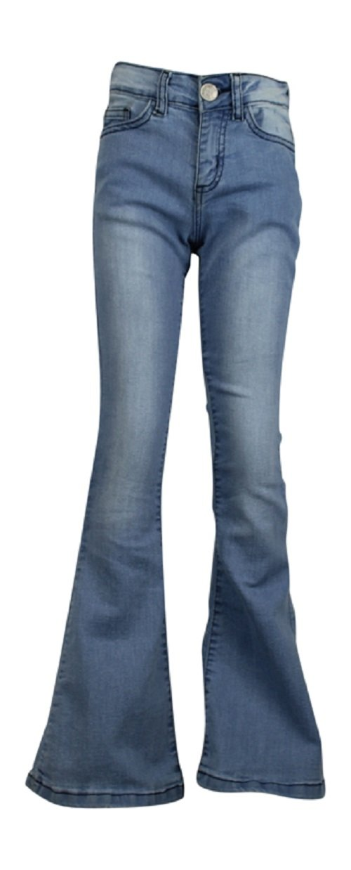 Ozmoint Girls Plain Slim Fitted Stretch Flare Jeans Five Pocket Denim Jean (7-13 Years) Dark Blue,Light Wash Bleach