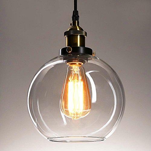 Frideko Vintage Industrial Ball Glass Lampshade Ceiling Pendant Light for Home Office Bedroom Coffee (1 Light Bracket Square Shade)