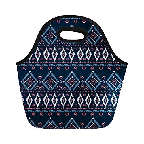Semtomn Neoprene Lunch Tote Bag Blue Border Drawing Tribal Ethnic Pattern Designs and Navy Reusable Cooler Bags Insulated Thermal Picnic Handbag for Travel,School,Outdoors, Work ()