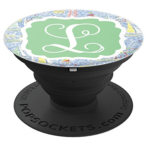 Personalized Pop Socket L Initial Nautical Sailing Accessory - PopSockets Grip and Stand for Phones and Tablets by Monogram Phone Grips by Puddle Kickers