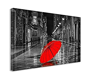 Amazoncom Black And White City Red Umbrella Canvas Wall Art 44 X
