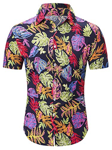Vacation Tag - Men's Short Sleeve Leaves Printed Beach Aloha Tropical Hawaiian Shirt, Leaves Black, US Medium = Tag M