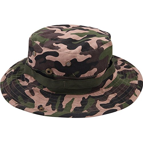 Eforstore Camouflage Ripstop Floppy Bucket Summer Fish Bush Boonie Hat with Snap (Woodland Camo Hunter)