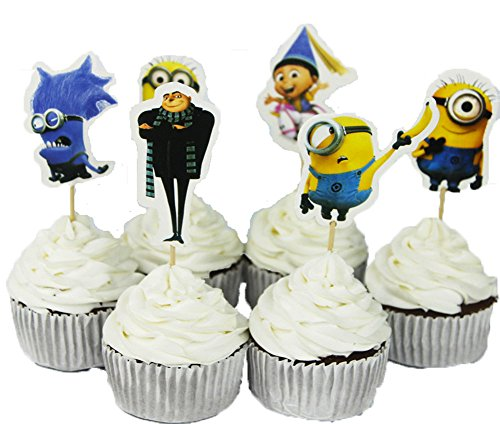 BETOP HOUSE Set of 24 Pieces Cute Despicable Me Minion Theme Party Decorative Cupcake Topper for Kids Birthday Party Baby -