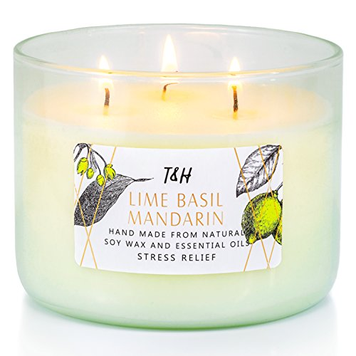 T&H Aromatherapy Stress Relief 3-Wick Natural Soy Wax Lime Basil Mandarin Candle