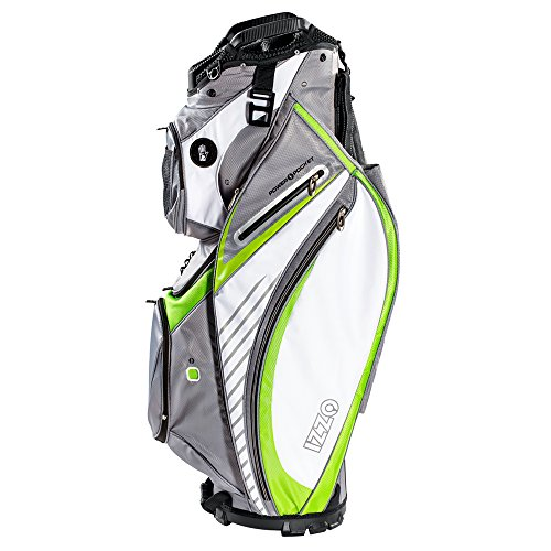 Izzo Golf Gemini Cart Golf Bag - Black, Red, Green or Blue - Golf cart Bag, Golf Club cart Bag, Magnetic Ball Pockets and has Large Beverage Cooler, Grey/Lime/White (Golf Bag With Built In Cooler)