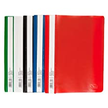 Idena 307863 - Carpetas (A5, plástico, 10 unidades, 5 colores 2 x azul, verde, rojo, blanco y amarillo)