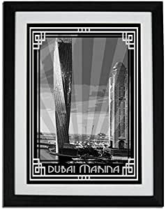 Dubai Marina- Black And White With Silver Border F01-m (a2) - Framed