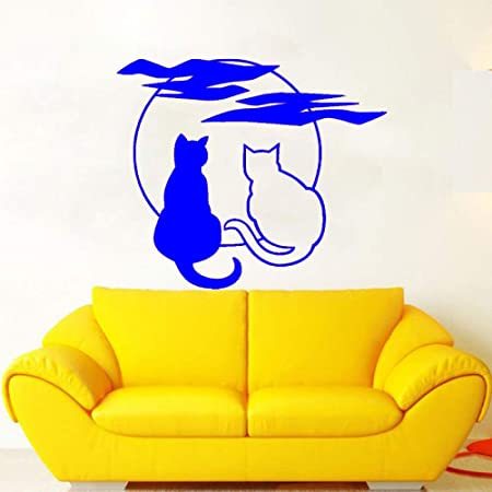 zhuziji Nuevo Home Decal Art Style Gatos Moom Wall Sticker PVC ...