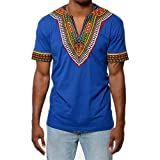 #10: Makkrom Mens African Tribal Dashiki Floral Short Sleeve T Shirt Blouse Tops