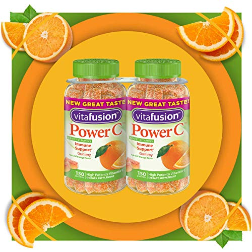Vita Fusion Power C Adult Vitamins Immune Support Gummy of Natural Orange Flavor High Potency Vitamin C and Nutrition - 2 Pack of 150 Gummies Dietary Supplement