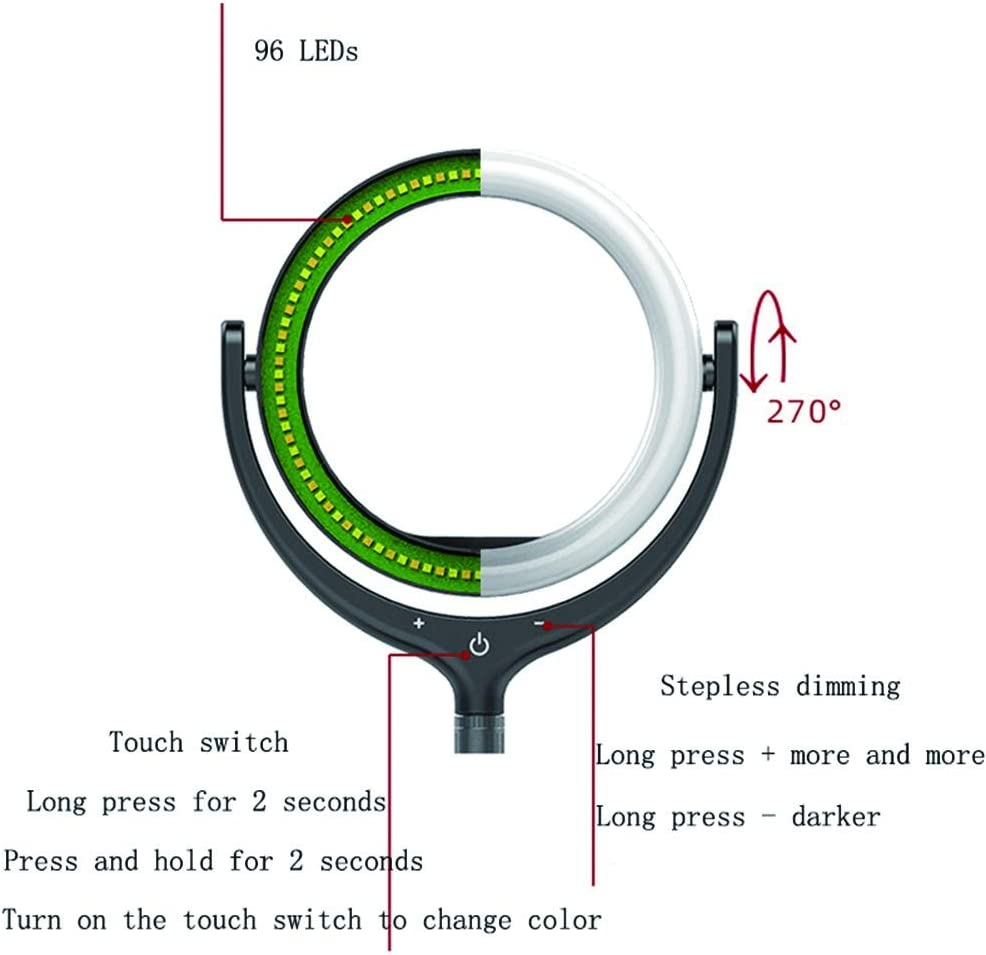 12-Inch Selfie Ring Light Dimmable with Mobile Phone Clip Double-Sided Mirror Telescopic Bracket for YouTube Makeup Studio Photography,Black