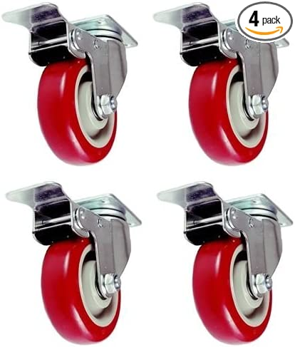 "3/"" Caster Wheels Swivel Plate Stem Brake Casters With Total Lock Red 4 Pack New"
