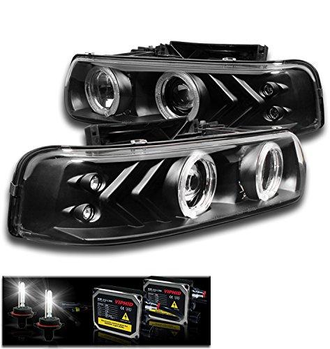 02 Chevrolet Silverado Halo Projector - 1999-2002 Chevy Silverado / 2000-2006 Suburban / Tahoe Halo LED Projector Headlights with 50W 6000K HID Conversion Kit - Black