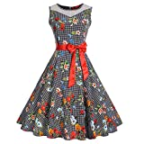 JESPER Women Vintage Sleeveless O Neck Evening Printing Party Prom Swing Dress US 14 Black