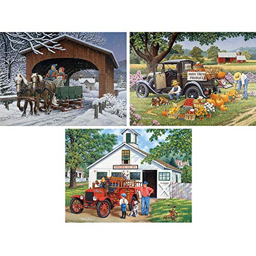 (Bits and Pieces - Set of Three (3) 1000 Piece Jigsaw Puzzles for Adults - Classic American Country Scenes - 1000 pc Jigsaws by Artist John Sloane )