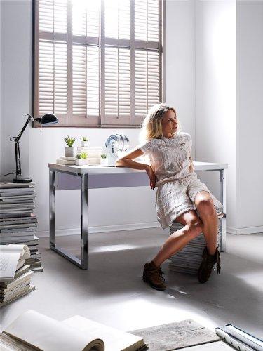 40124W4 115 x 60 x 76 cm Blanc Brillant//blanc// chrom/é Table Robas Lund Bureau Sydney